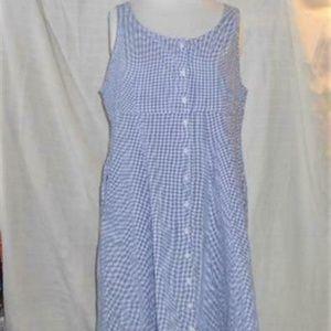 LL Bean Dress Sleeveless XL P Blue Gingham Cotton